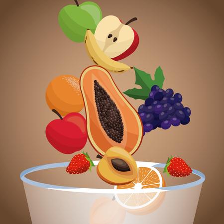 bowl fruit healthy diet vector illustration eps 10 Ilustrace