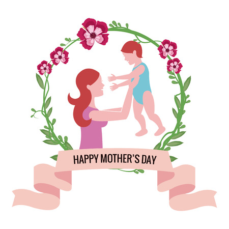 happy mothers day- mom holding baby floral vector illustration