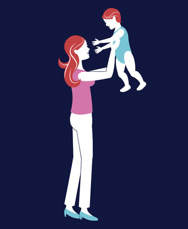 mother holding baby blue background vector illustration eps 10