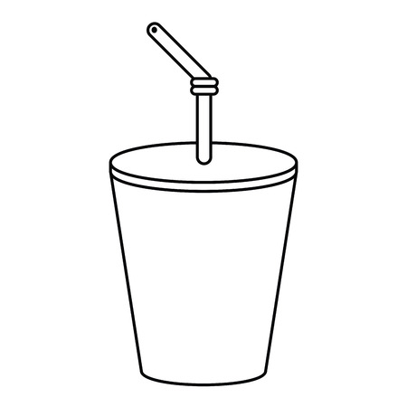 plastic cup drink cola thin line vector illustration eps 10