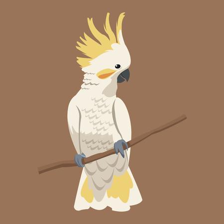 exotische de tak vectorillustratie eps 10 van de kaketoevogel Vector Illustratie