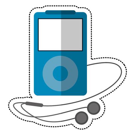 fm: blue mp3 player headphones vector illustration eps 10