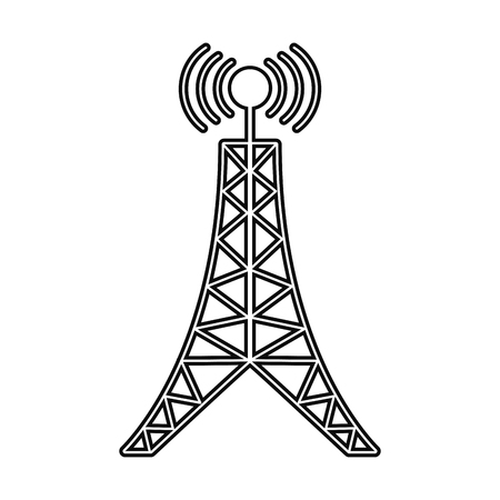 antenna tower broadcast connection line vector illustration eps 10