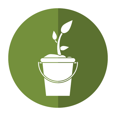 pail tank: bucket plant garden image shadow vector illustration eps 10