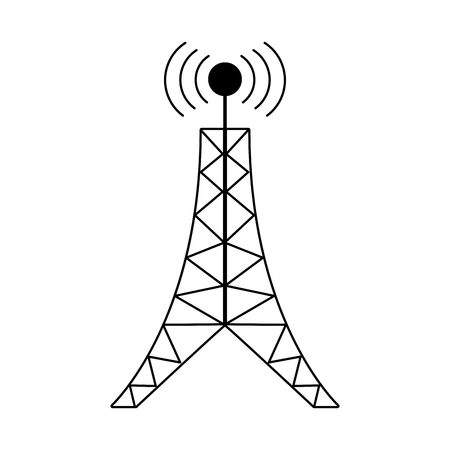 antenna tower broadcast connection pictogram Illustration