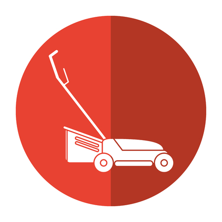hand lawn mower gardening shadow vector illustration eps 10