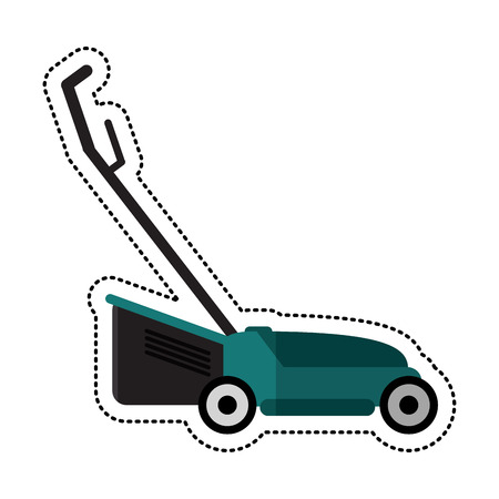 cartoon hand lawn mower gardening vector illustration eps 10