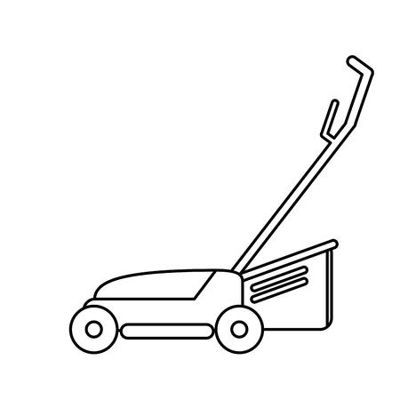 pulverizer: hand lawn mower gardening thin line vector illustration eps 10