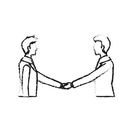 Uomini d'affari che stringono la progettazione dell'illustrazione di vettore di immagine dell'icona delle mani