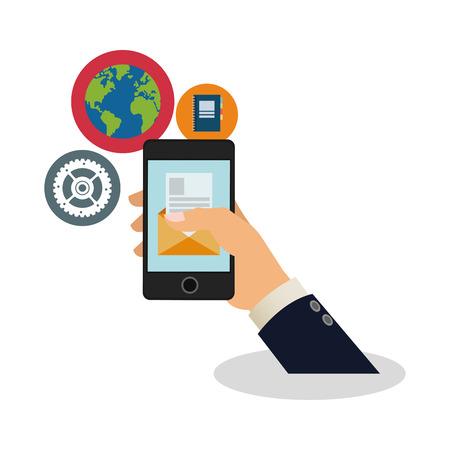 assorted cellphone applications related icons image vector illustration design Illustration