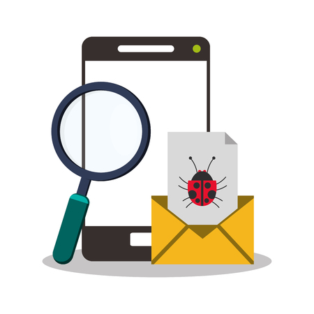 smartphone device and magnifying glass icon over white background. colorful design. vector illustration
