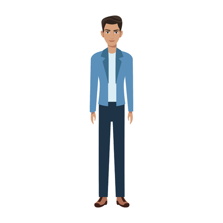 good looking man wearing casual clothes over white background. colorful design. vector illustration