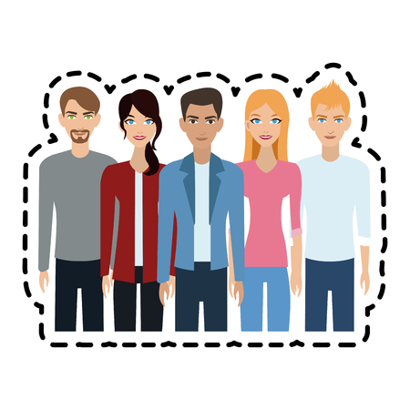 group of attractive men and women icon image vector illustration design Illustration