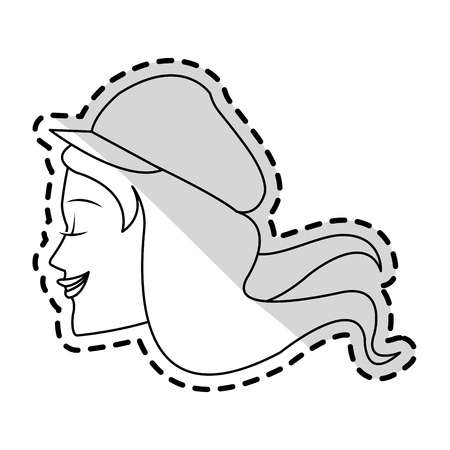 beautiful young woman with flowing hair and hat icon image vector illustration design