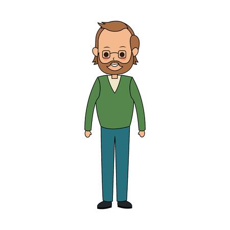 middle age man cute cartoon icon image vector illustration design  イラスト・ベクター素材