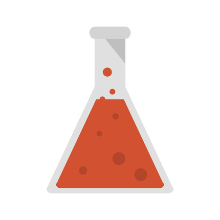drug discovery: Flask bottle icon over white background.