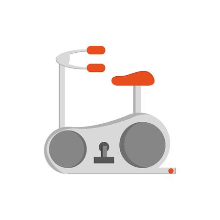 static bike: Spinning bike icon over white background.