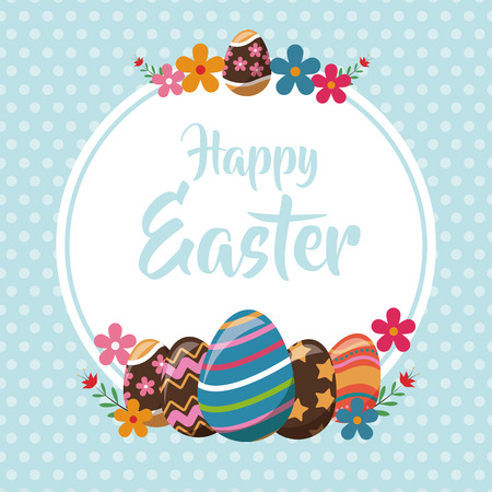 happy easter eggs decoration poster Vectores