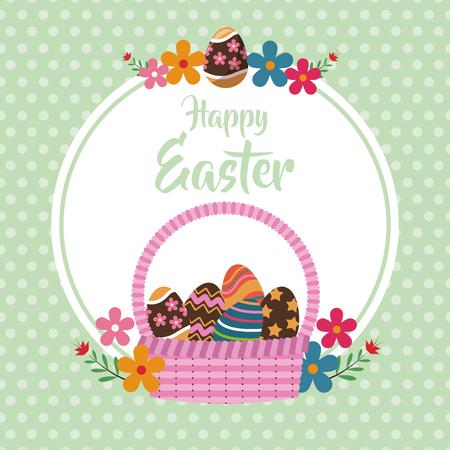 happy easter basket egg floral dots background vector illustration Illustration