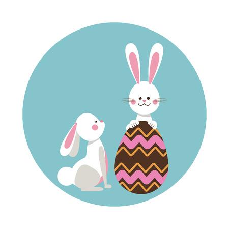 domesticated: cute rabbits easter beauty egg vector illustration