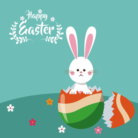 broken eggs: happy easter bunny broken egg celebration vector illustration eps 10