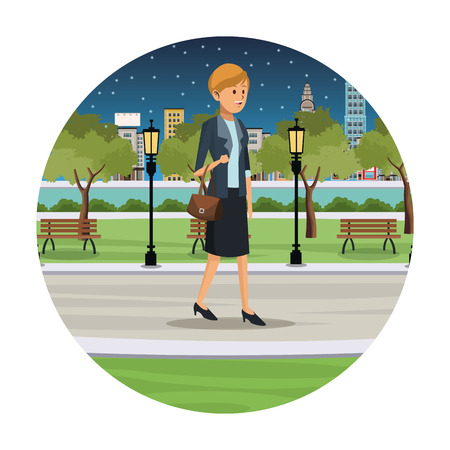 woman business walk park view night vector illustration eps 10 Illustration