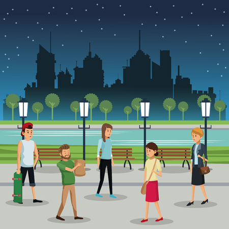 people walking night street urban background vector illustration