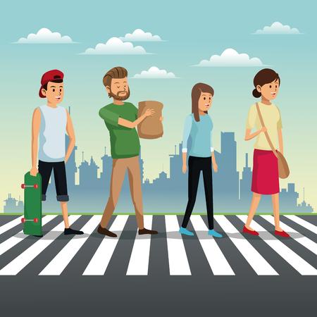 people crossing street urban background
