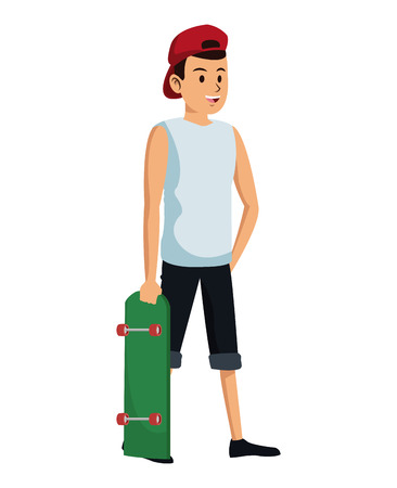 man with red cap and skateboard Illustration