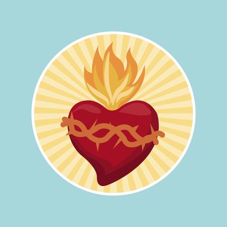 sacred heart blessed image label Illustration