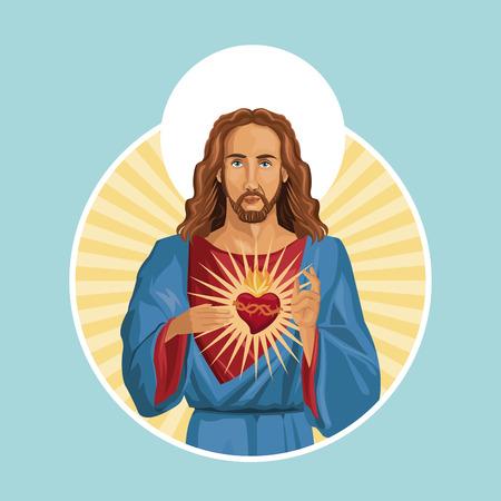 jesus christ sacred heart label