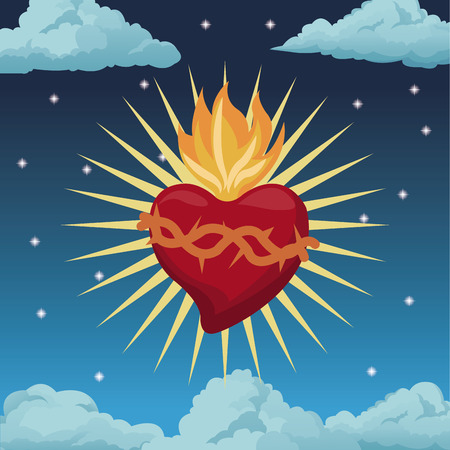 cor: sacred heart blessed night background