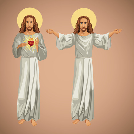 hape: two image jesus christ christianity vector illustration eps 10