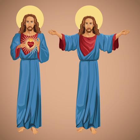 the merciful: two image jesus christ sacred heart vector illustration eps 10