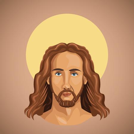 portrait jesus christ spirituality vector illustration eps 10