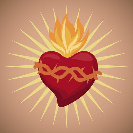sacred heart blessed image vector illustration eps 10