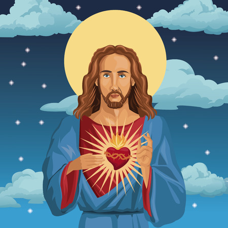 jesus christ sacred heart catholic night background vector illustration eps 10