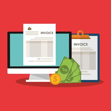 payable: Invoice economy related icons image vector illustration design Illustration