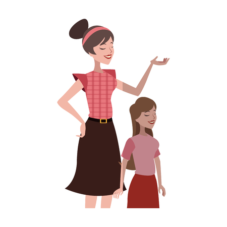 mother with her daughter over white background. colorful design. vector illustration Illusztráció
