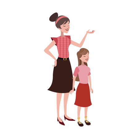 Mother with her daughter over white background. colorful design. vector illustration