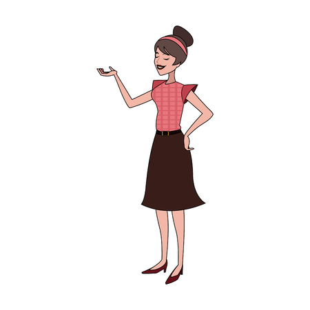 pretty brunette woman talking and gesticulating  icon image vector illustration design