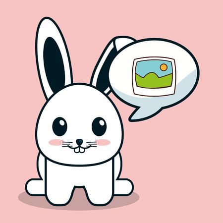 kawaii bunny bubble speech image vector illustration eps 10