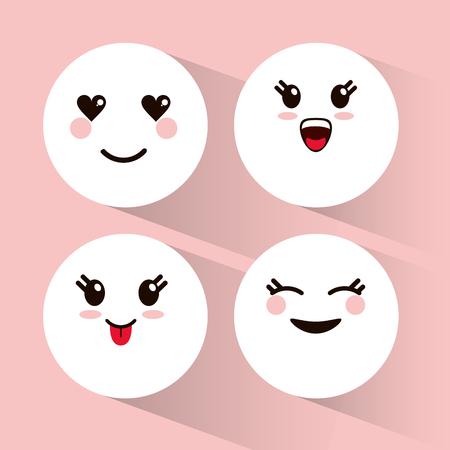 neko: set kawaii emoticons expression vector illustration eps 10