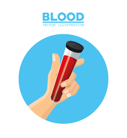 ampoule: hand holding test tube blood vector illustration eps 10