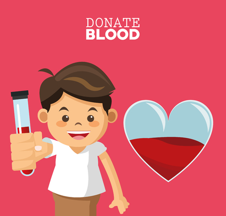 donate blood boy test tube vector illustration eps 10