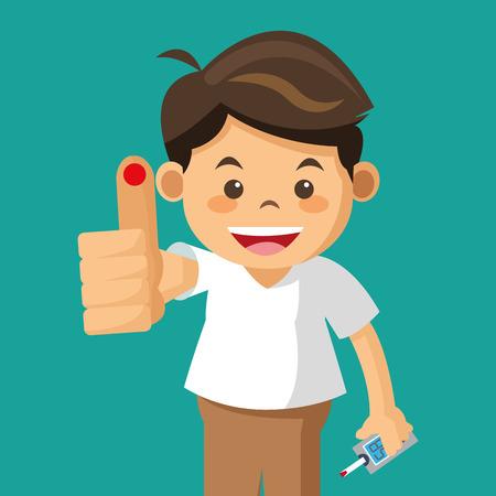 boy diabetes drop test evctor illustration eps 10