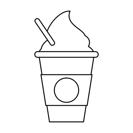 cold coffee cup portable outline vector illustration eps 10 Illustration