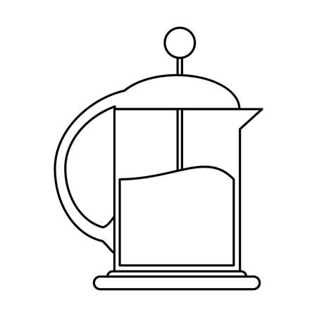 stovetop: french press coffee maker outline vector illustration eps 10 Illustration