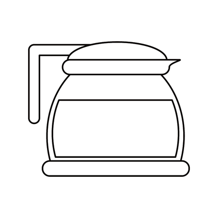glass pot with coffee outline vector illustration eps 10 Illustration