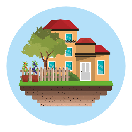 tall grass: house with fence tree garden vector illustration eps 10 Illustration